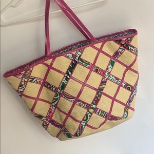 Vera Bradley criss cross straw/fabric tote